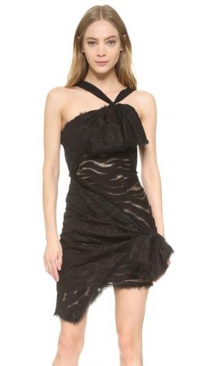 Платье с открытым плечом Versace. Цвет: голубой