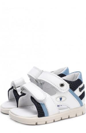Кожаные сандалии с застежками велькро Falcotto. Цвет: разноцветный