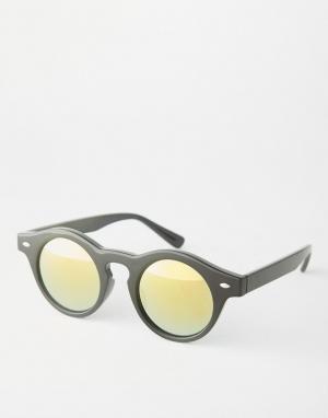 Trip Круглые солнцезащитные очки с зеркальными линзами. Цвет: черный