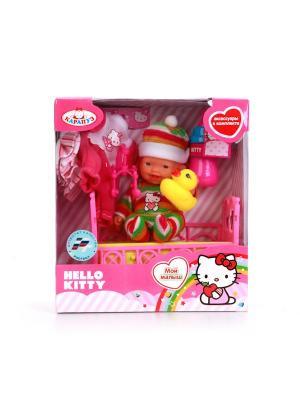 Пупс Карапуз hello kitty 10см, в ванночке, с аксессуарами.. Цвет: розовый,желтый,зеленый
