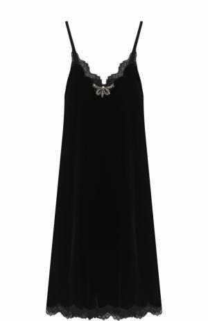 Приталенное платье-комбинация с кружевной отделкой Gucci. Цвет: черный