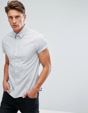 Burton Menswear Оксфордская приталенная рубашка с короткими рукавами. Цвет: серый