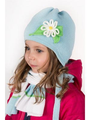 Комплект шапка и  шарф ШАЛУНЫ. Цвет: голубой