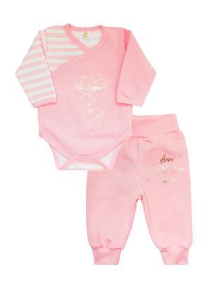 Комплект одежды: штанишки, боди-распашонка Коллекция Little Elephant КОТМАРКОТ. Цвет: розовый