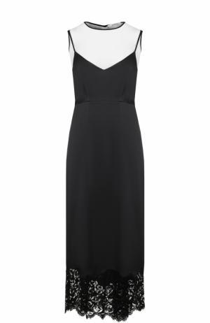 Приталенное платье-миди с кружевной отделкой Dorothee Schumacher. Цвет: черно-белый