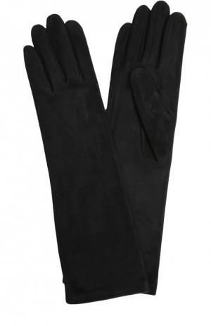 Удлиненные замшевые перчатки Agnelle. Цвет: черный