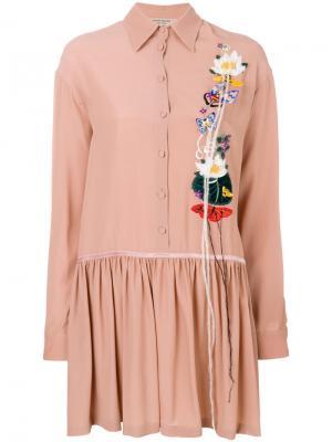 Платье на пуговицах с цветочной отделкой Piccione.Piccione. Цвет: розовый и фиолетовый