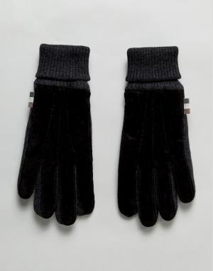Aquascutum Черные трикотажные перчатки с замшевыми вставками. Цвет: черный