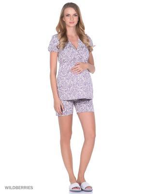 Комплект домашней одежды для беременных и кормления ( блузка, шорты) 40 недель. Цвет: лиловый, белый