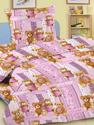 Комплект в кроватку Ясли BGR-06, простыня на резинке, бязь Letto. Цвет: розовый