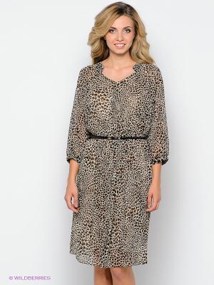 Платье Forus. Цвет: кремовый, черный, светло-коричневый