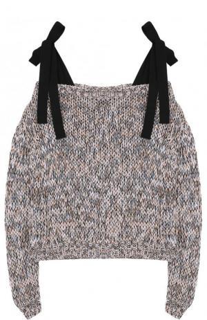 Хлопковый пуловер фактурной вязки с бантами Rochas. Цвет: синий