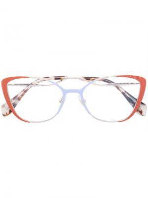 Очки с оправой кошачий глаз Miu Eyewear. Цвет: жёлтый и оранжевый