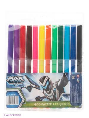 Фломастеры Max Steel, 12 цветов Centrum. Цвет: красный, оранжевый, синий, фиолетовый, черный