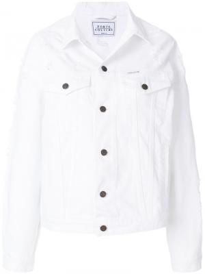 Классическая джинсовая куртка Forte Couture. Цвет: белый