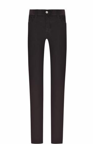 Хлопковые брюки прямого кроя Brioni. Цвет: темно-коричневый