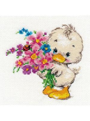 Набор для вышивания Желаю счастья 12х12 см Алиса. Цвет: белый, желтый, розовый, светло-серый, серый
