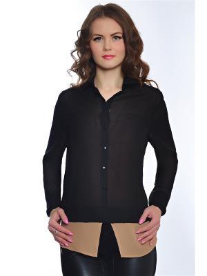 Блузка RISE. Цвет: черный, светло-коричневый