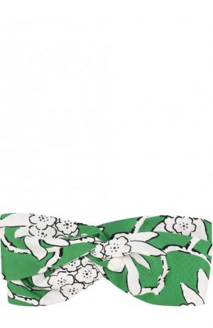 Шелковая повязка на голову с принтом Valentino. Цвет: зеленый