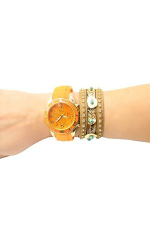 Набор: часы, браслет Taya. Цвет: золотистый, оранжевый