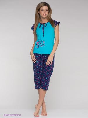 Пижама Vienetta Secret. Цвет: голубой, фуксия, темно-синий