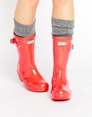 Hunter Короткие блестящие резиновые сапоги Original. Цвет: розовый