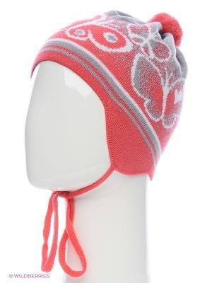 Ушанка ELFRIO. Цвет: коралловый, светло-серый