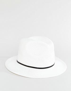 Catarzi Соломенная шляпа с черной тесьмой. Цвет: белый