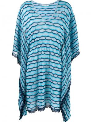 Striped knit kaftan Cecilia Prado. Цвет: синий