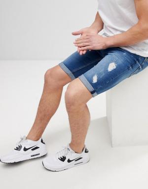 River Island Синие выбеленные джинсовые шорты с рваной отделкой. Цвет: синий