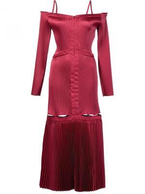 Плиссированное платье с открытыми плечами Barbara Casasola. Цвет: красный