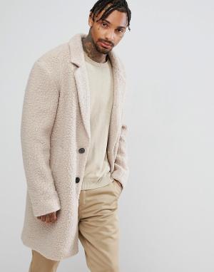ASOS Серовато-желтое свободное пальто из искусственного меха. Цвет: бежевый