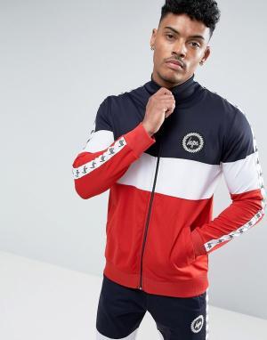 Hype Трехцветная спортивная куртка со вставками и лентой. Цвет: темно-синий