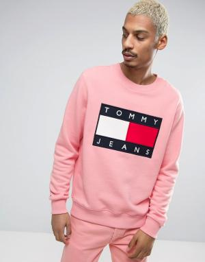 Tommy Jeans Розовый свитшот с круглым вырезом и логотипом спереди 90S. Цвет: розовый