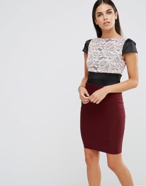 Vesper Платье с кружевным топом и коротким рукавом. Цвет: красный