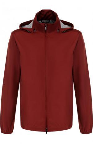 Куртка на молнии с капюшоном Z Zegna. Цвет: бордовый