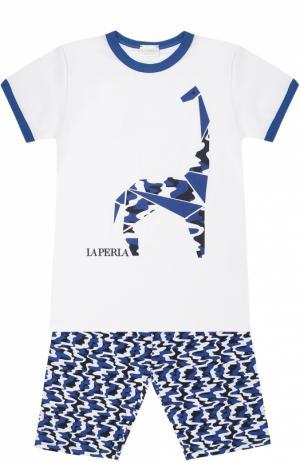 Пижама из хлопка с принтом La Perla. Цвет: белый
