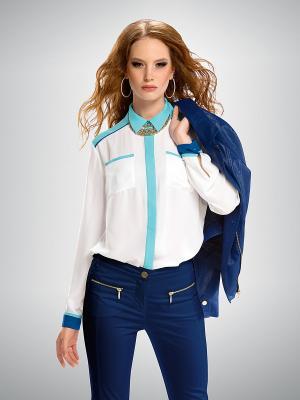 Рубашка PELICAN. Цвет: белый, синий, бирюзовый