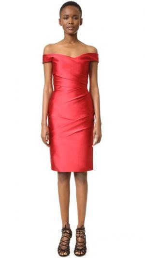 Платье с открытыми плечами Monique Lhuillier. Цвет: темно-красный