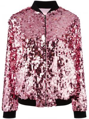 Куртка-бомбер с отделкой пайетками Giamba. Цвет: розовый и фиолетовый