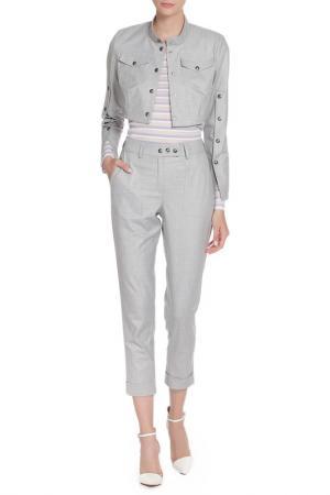 Костюм: жакет, брюки, блуза Adzhedo. Цвет: серый, сиреневая полоса