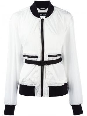 Куртка-бомбер с ремнем Ahirain. Цвет: белый