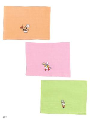 Кухонные полотенца ЛЮКС 3шт.45*65 см Dorothy's Нome. Цвет: светло-зеленый, фуксия, оранжевый
