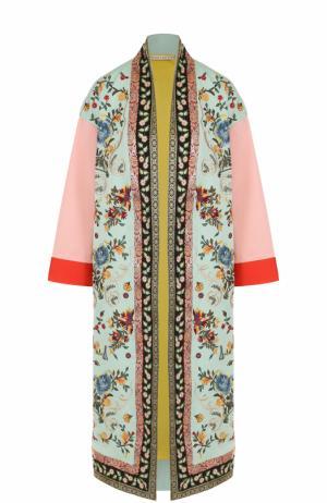 Пальто прямого кроя с контрастной вышивкой Alice + Olivia. Цвет: разноцветный