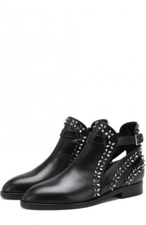 Кожаные ботинки с металлической отделкой Alaia. Цвет: черный