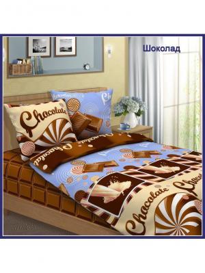 Комплект постельного белья Традиция 1,5 спальный. Цвет: серо-голубой, коричневый, кремовый