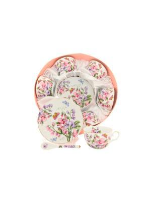 Чайный набор Душистый цветок Elan Gallery. Цвет: белый, зеленый, розовый