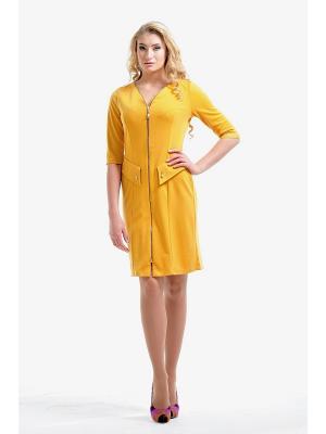 Платье Dea Fiori. Цвет: горчичный