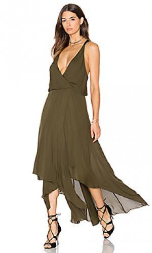 Кожаное макси платье с запахом godets Haute Hippie. Цвет: оливковый