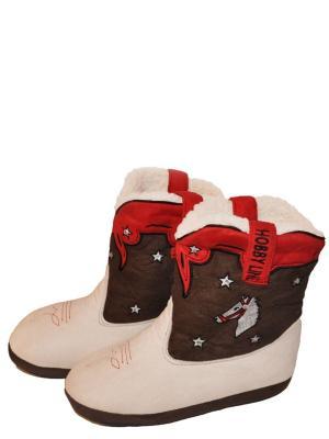 Тапочки-сапожки HOBBY LINE. Цвет: коричневый, красный, кремовый